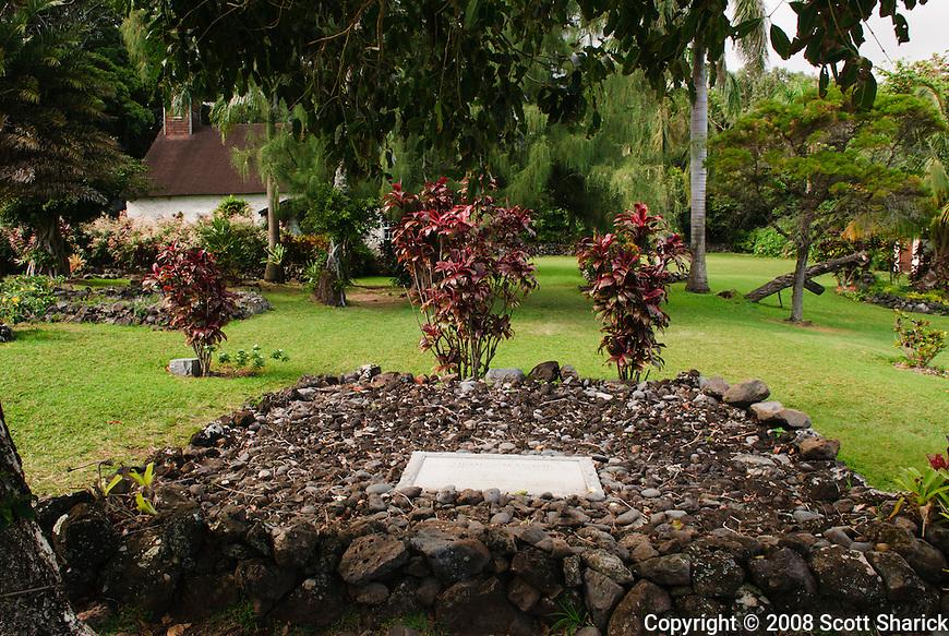 The grave site of Charles Lindbergh at Palapalo Ho'omau Church Cemetery, Kipahulu in.Southeast Maui.