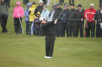Rory McIlroy playing the 16th after play restarted on day 3 at the 3 Irish open in Co Louth Golf Club...Photo: Fran Caffrey/www.golffile.ie..