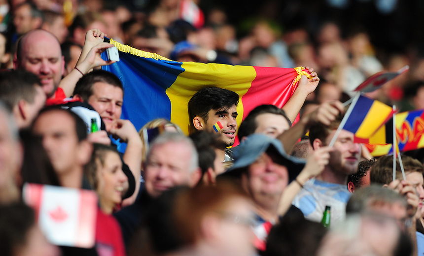 A Romania fan during the national anthems<br /> <br /> Photographer Chris Vaughan/CameraSport<br /> <br /> Rugby Union - 2015 Rugby World Cup Pool D - Canada v Romania - Tue 6 October 2015 - King Power Stadium, Leicester <br /> <br /> &copy; CameraSport - 43 Linden Ave. Countesthorpe. Leicester. England. LE8 5PG - Tel: +44 (0) 116 277 4147 - admin@camerasport.com - www.camerasport.com