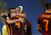 Calcio, Serie A: Roma vs Lazio. Roma, stadio Olimpico, 8 novembre 2015.<br /> Roma's Alessandro Florenzi, left, and Radja Nainggolan celebrate at the end of the Italian Serie A football match between Roma and Lazio at Rome's Olympic stadium, 8 November 2015. Roma won 2-0.<br /> UPDATE IMAGES PRESS/Isabella Bonotto