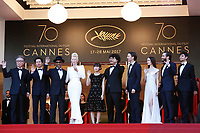 "(L-R) Byung Heebong, Steven Yeun, Giancarlo Esposito, Tilda Swinton Ahn Seo-Hyun, Bong Joon-Ho, Paul Dano, Lily Collins, Jake Gyllenhaal and Devon Bostic at the ""Okja"" premiere during the 70th Cannes Film Festival at the Palais des Festivals on May 19, 2017 in Cannes, France. (c) John Rasimus /MediaPunch ***FRANCE, SWEDEN, NORWAY, DENARK, FINLAND, USA, CZECH REPUBLIC, SOUTH AMERICA ONLY***"