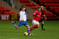 Adam May of Portsmouth passes the ball upfield during Charlton Athletic vs Portsmouth, Checkatrade Trophy Football at The Valley on 7th November 2017
