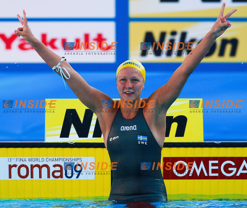 Roma 27th July 2009 - 13th Fina World Championships .From 17th to 2nd August 2009.women's 100 m Butterfly.Sjostrom Sarah SWE Gold Medal and New W.R..photo: Roma2009.com/InsideFoto/SeaSee.com