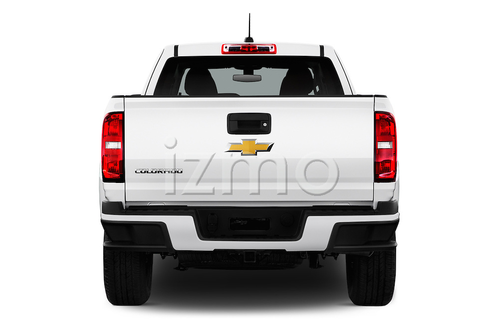 Straight rear view of 2016 Chevrolet Colorado Work-Truck-Crew 4 Door Pick-up Rear View  stock images