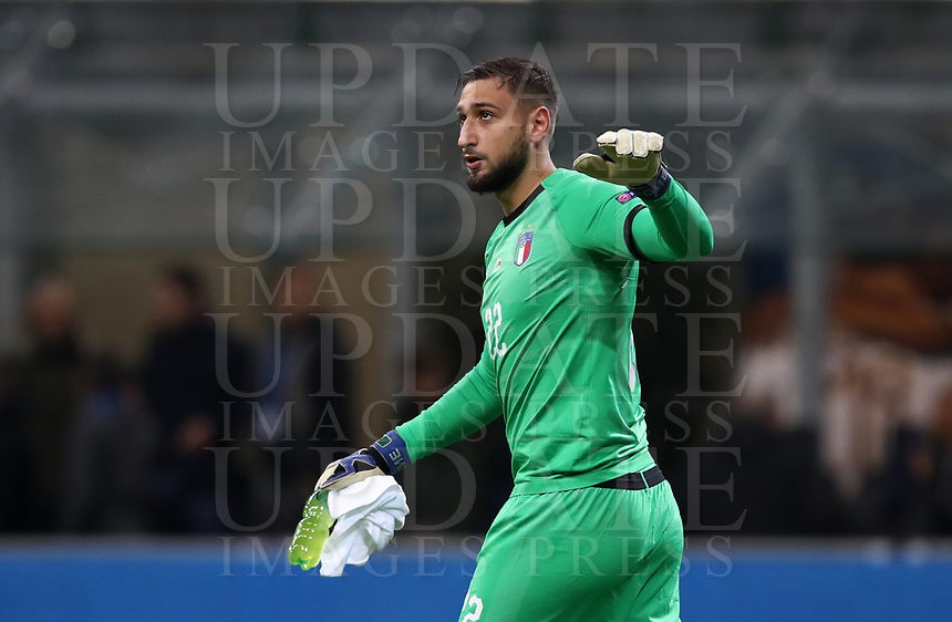 Football: Uefa Nations League Group 3match Italy vs Portugal at Giuseppe Meazza (San Siro) stadium in Milan, on November 17, 2018.<br /> Italy's goalkeeper Gianluigi Donnarumma reacts during the Uefa Nations League match between Italy and Portugal at Giuseppe Meazza (San Siro) stadium in Milan, on November 17, 2018.<br /> UPDATE IMAGES PRESS/Isabella Bonotto