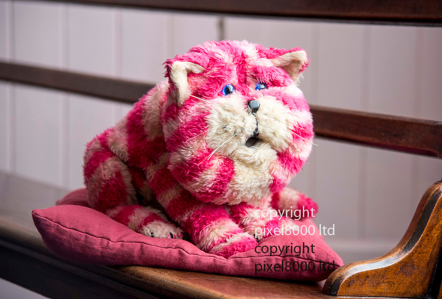 Pic shows:  Museum staff holds Bagpuss<br /> <br /> <br /> Bagpuss and Clangers <br /> New exhibition at V&amp;A Museum of Childhood, London<br /> <br /> Created by Oliver Postgate at Peter Firmin of Smallfilms<br /> <br /> <br /> <br /> <br /> Pic by Gavin Rodgers/Pixel 8000 Ltd