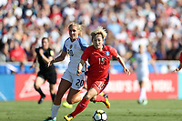 Cary, NC - Sunday October 22, 2017: Lee Sodam and Allie Long during an International friendly match between the Women's National teams of the United States (USA) and South Korea (KOR) at Sahlen's Stadium at WakeMed Soccer Park. The U.S. won the game 6-0.