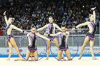 TORONTO, CANADÁ, 20.07.2015 - PAN-GINASTICA-RITMICA - Canadenses medalha de bronze na categoria fita e maça em grupo durante apresentação na Ginastica Ritmica nos Jogos Panamericanos no Toronto Coliseum, no Canadá, nesta segunda-feira, 20. (Foto: Vanessa Carvalho/Brazil Photo Press)