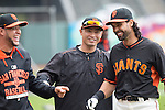 Norichika Aoki (Giants),<br /> MAY 7, 2015 - MLB : (L-R) Gregor Blanco, Norichika Aoki and Angel Pagan of the San Francisco Giants are seen before the Major League Baseball game at AT&amp;T Park in San Francisco, California, United States.<br /> (Photo by Thomas Anderson/AFLO) (JAPANESE NEWSPAPER OUT)
