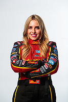 Feb 6, 2019; Pomona, CA, USA; NHRA top fuel driver Brittany Force poses for a portrait during NHRA Media Day at the NHRA Museum. Mandatory Credit: Mark J. Rebilas-USA TODAY Sports