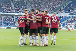 06.10.2018, HDI Arena, Hannover, GER, 1.FBL, Hannover 96 vs VfB Stuttgart<br /> <br /> DFL REGULATIONS PROHIBIT ANY USE OF PHOTOGRAPHS AS IMAGE SEQUENCES AND/OR QUASI-VIDEO.<br /> <br /> im Bild / picture shows<br /> Jubel / Torjubel zum 3:1 mit Torsch&uuml;tzen Ihlas Bebou (Hannover 96 #13), Marvin Bakalorz (Hannover 96 #06), Niclas F&uuml;llkrug / Fuellkrug (Hannover 96 #24), Iver Fossum (Hannover 96 #18), Josip Elez (Hannover 96 #02), <br /> <br /> Foto &copy; nordphoto / Ewert