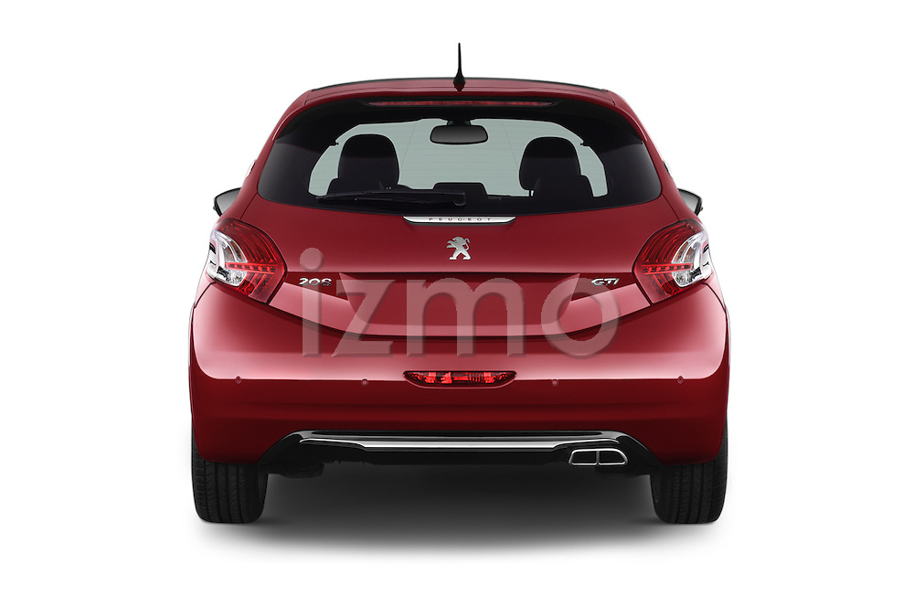 Straight rear view of 2014 Peugeot 208 GTI 3 Door Hatchback 2WD Stock Photo