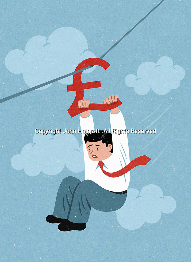 Terrified businessman holding on to British pound sign zip wire