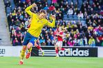 ****BETALBILD**** <br /> Stockholm 2015-04-08 Fotboll Landskamp Damer , Sverige - Danmark :  <br /> Sveriges Lotta Schelin firar sitt 2-2 m&aring;l under matchen mellan Sverige och Danmark <br /> (Photo: Kenta J&ouml;nsson) Keywords:  Sweden Sverige Denmark Danmark Landskamp Dam Damer Tele2 Arena Stockholm jubel gl&auml;dje lycka glad happy
