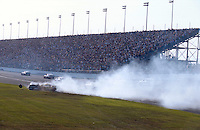 Dale Earnhardt Crash Frame 6.The cars of Earnhardt (L) and Schrader slide to the infield..NASCAR Winston Cup Daytona 500 18 Feb.2001 Daytona International Speedway, Daytona Beach,Florida,USA .© F. Peirce Williams .photography 2001...F.Peirce Williams Photography.P.Box 455 Eaton, OH 45320.317.358.7326  fpwp@mac.com