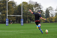 Stephen Donald looks to kick the ball towards the posts. Bath Rugby training session on October 25, 2012 at Farleigh House in Bath, England. Photo by: Patrick Khachfe/Onside Images
