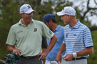 Matt Kuchar (USA) and Jim Furyk (USA) share a laugh on the tee on 2 during day 2 of the Valero Texas Open, at the TPC San Antonio Oaks Course, San Antonio, Texas, USA. 4/5/2019.<br /> Picture: Golffile | Ken Murray<br /> <br /> <br /> All photo usage must carry mandatory copyright credit (&copy; Golffile | Ken Murray)
