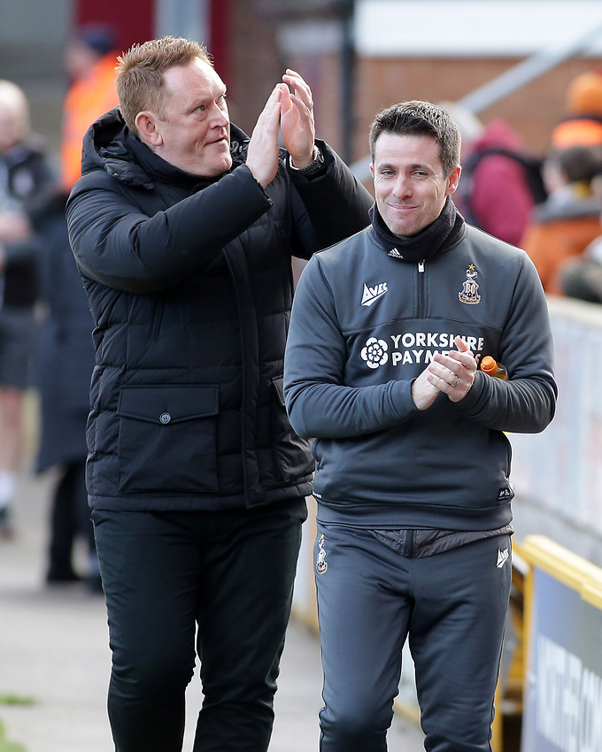 Bradford City manager David Hopkin applauds the home support before kick off <br /> <br /> Photographer David Shipman/CameraSport<br /> <br /> The EFL Sky Bet League One - Bradford City v Fleetwood Town - Saturday 9th February 2019 - Valley Parade - Bradford<br /> <br /> World Copyright © 2019 CameraSport. All rights reserved. 43 Linden Ave. Countesthorpe. Leicester. England. LE8 5PG - Tel: +44 (0) 116 277 4147 - admin@camerasport.com - www.camerasport.com