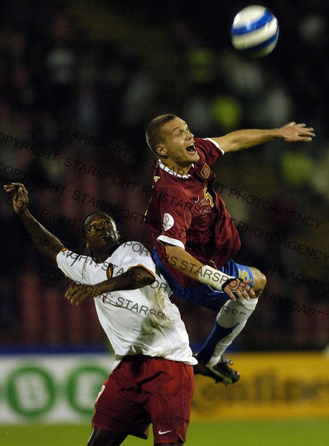 SPORT FUDBAL SRBIJA BELGIJA REPREZENTACIJA EURO 2008 KVALIFIKACIJE SOCCER NATIONAL TEAM Nemanja Vidic 7.10.2006. photo: Pedja Milosavljevic<br />