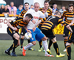 Keis Boyd scrapping in among a ruck of Alloa pplayers but finds no joy in front of goal