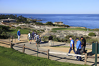 Gerry McIlroy (NIR) and Phil Mickelson walk down the 3rd hole at Spyglass Hill during Thursday's Round 1 of the 2018 AT&amp;T Pebble Beach Pro-Am, held over 3 courses Pebble Beach, Spyglass Hill and Monterey, California, USA. 8th February 2018.<br /> Picture: Eoin Clarke | Golffile<br /> <br /> <br /> All photos usage must carry mandatory copyright credit (&copy; Golffile | Eoin Clarke)