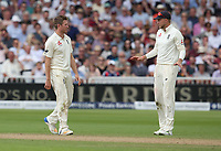 England's Liam Dawson confers with captain Joe Root whether to revert to the tv review for his lbw appeal against South Africa's Hashim Amla. The appeal was successful <br /> <br /> Photographer Stephen White/CameraSport<br /> <br /> Investec Test Series 2017 - Second Test - England v South Africa - Day 3 - Sunday 16th July 2017 - Trent Bridge - Nottingham<br /> <br /> World Copyright &copy; 2017 CameraSport. All rights reserved. 43 Linden Ave. Countesthorpe. Leicester. England. LE8 5PG - Tel: +44 (0) 116 277 4147 - admin@camerasport.com - www.camerasport.com