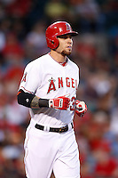Josh Hamilton #32 of the Los Angeles Angels runs to first base during a game against the Kansas City Royals at Angel Stadium on May 14, 2013 in Anaheim, California. (Larry Goren/Four Seam Images)