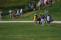 Francesco Molinari (ITA) and Tyrrell Hatton (ENG) coming off the 18th tee during the 3rd round at the PGA Championship 2019, Beth Page Black, New York, USA. 19/05/2019.<br /> Picture Fran Caffrey / Golffile.ie<br /> <br /> All photo usage must carry mandatory copyright credit (© Golffile | Fran Caffrey)