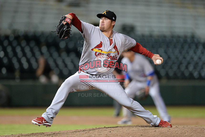 Salt River Rafters pitcher Anthony Ferrara (26), of the St. Louis Cardinals organization, during an Arizona Fall League game against the Scottsdale Scorpions on October 9, 2013 at Scottsdale Stadium in Scottsdale, Arizona.  Salt River defeated Scottsdale 12-2.  (Mike Janes/Four Seam Images)