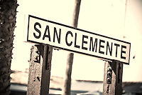 San Clemente Wood Sign at the Pier Sepia Toned
