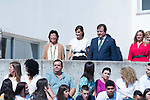 Education Minister Isabel Celaa (l), Queen Letizia of Spain and President of Extremadura Guillermo Fernandez Vara during the opening of School Year in Torrejoncillo (Caceres). September 17, 2019. (ALTERPHOTOS/Francis Gonzalez)