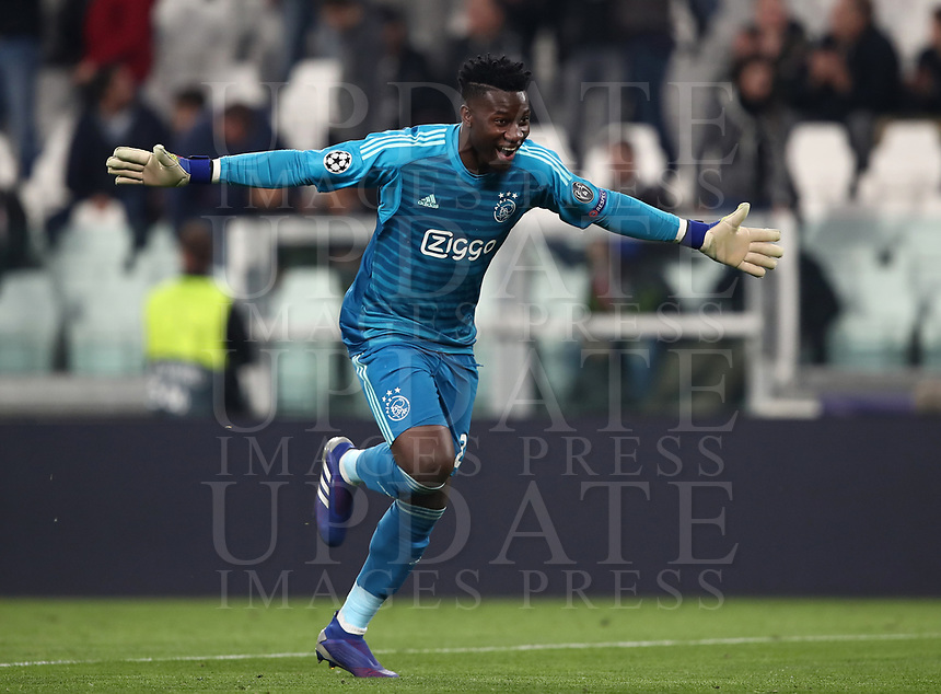 Football Soccer: UEFA Champions UEFA Champions League quarter final second leg Juventus - Ajax, Allianz Stadium, Turin, Italy, March 12, 2019. <br /> Ajax's goalkeeper André Onana celebrates after winning 2-1 the Uefa Champions League quarter final second leg against Juventus at the Allianz Stadium, on March 12, 2019.<br /> UPDATE IMAGES PRESS/Isabella Bonotto