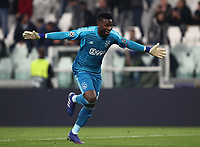 Football Soccer: UEFA Champions UEFA Champions League quarter final second leg Juventus - Ajax, Allianz Stadium, Turin, Italy, March 12, 2019. <br /> Ajax's goalkeeper Andr&eacute; Onana celebrates after winning 2-1 the Uefa Champions League quarter final second leg against Juventus at the Allianz Stadium, on March 12, 2019.<br /> UPDATE IMAGES PRESS/Isabella Bonotto