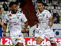 MANIZALES - COLOMBIA, 17-08-2017: Sergio Lopez (L) de Once Caldas celebra después de anotar un gol a Deportes Tolima durante partido por la fecha 8 de Liga Águila II 2017 jugado en el estadio Palogrande de la ciudad de Manizales. / Sergio Lopez (L) player of Once Caldas celebrates after scoring a goal to Deportes Tolima aramanga during match for the date 8 of the Aguila League II 2017 played at Palogrande stadium in Manizales city. Photo: VizzorImage / Santiago Osorio / Cont