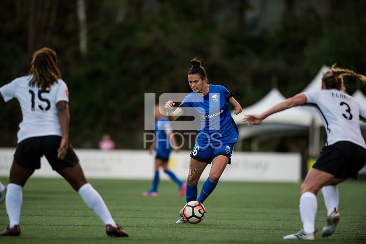 Seattle, WA - April 15th, 2017: Carson Pickett during a regular season National Women's Soccer League (NWSL) match between the Seattle Reign FC and Sky Blue FC at Memorial Stadium.