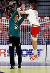 Niklas Landin Jacobsen (L) and Mikkel Hansen (R) of Denmark celebrate during men`s EHF EURO 2012 handball championship final game between Serbia and Denmark in Belgrade, Serbia, Sunday, January 29, 2011.  (photo: Pedja Milosavljevic / thepedja@gmail.com / +381641260959)