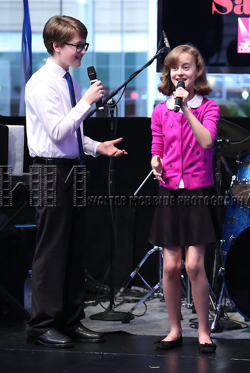 Jake Lucas and Sydney Lucas perform at the Broadway Salutes 2015 in Anita's Way on September 29, 2015 in New York City.