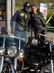 "Baron ""The Baron"" Hamilton of Amityville and another unidentified biker at the annual Blessing of the Bikes at the Peace Makers M.C. Clubhouse in Wyandanch on Sunday May 7, 2006. (Photo / Jim Peppler)."