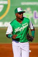 Jackson Generals second baseman Domingo Leyba (3) jogs to the dugout between innings during a Southern League game against the Biloxi Shuckers on July 27, 2018 at The Ballpark at Jackson in Jackson, Tennessee. Biloxi defeated Jackson 15-7. (Brad Krause/Four Seam Images)