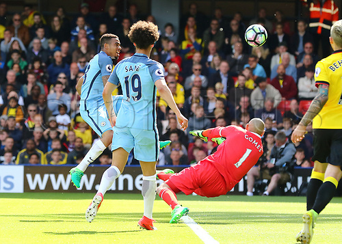 May 21st 2017, Vicarage Road, Watford, Herts, England; EPL Premier league football, Watford versus Manchester City; Gabriel Jesus of Manchester City taps his shot over Watford Goalkeeper Heurelho Gomes to make it 0-5 in the 58th minute