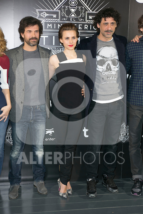"Rodolfo Sancho, Aura Garrido and Nacho Fresneda attend the ""El Ministerio Del Tiempo"" Tv Series Presentation at Cineteca Of the Matadero, Madrid,  Spain. February 19, 2015.(ALTERPHOTOS/)Carlos Dafonte)"