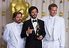 """ZACH GALIFIANAKIS, BRET McKENZIE AND WILL FERRELL.McKenzie won the Best Original Song at the 84th Academy Awards, Kodak Theatre, Hollywood, Los Angeles_26/02/2012.Mandatory Photo Credit: ©Dias/Newspix International..**ALL FEES PAYABLE TO: """"NEWSPIX INTERNATIONAL""""**..PHOTO CREDIT MANDATORY!!: NEWSPIX INTERNATIONAL(Failure to credit will incur a surcharge of 100% of reproduction fees)..IMMEDIATE CONFIRMATION OF USAGE REQUIRED:.Newspix International, 31 Chinnery Hill, Bishop's Stortford, ENGLAND CM23 3PS.Tel:+441279 324672  ; Fax: +441279656877.Mobile:  0777568 1153.e-mail: info@newspixinternational.co.uk"""