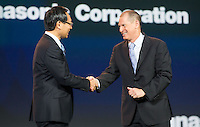 LAS VEGAS, NV - January 8 : Panasonic President Kazuhiro Tsuga AND Consumer Electronics Association (CEA) President and CEO Gary Shapiro pictured at CES Opening Keynote at The Venetian in Las Vegas, Nevada on January 8, 2013. Credit: Kabik/ Starlitepics / MediaPunch Inc. ***HOUSE COVERAGE*** /NortePhoto /NortePhoto