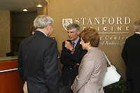 STANFORD, CA - June 27:  Photos of the Stanford Medicine Radiology Outpatient Imaging Center grand opening on Sherman Ave. on June 27, 2008 in Palo Alto, California. Pictured is the Carl and Elizabeth Naumann Dean of the School of Medicine Philip Pizzo, MD  talking with Palo Alto Mayor Larry Klein, Department of Radiology Chairman Gary M. Glazer, and President and CEO of Stanford Hospital Martha Marsh.