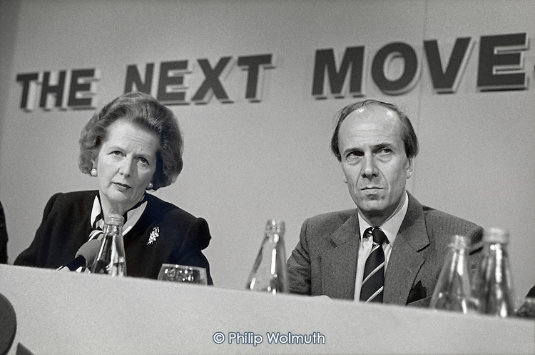 Margaret Thatcher and Norman Tebbit, Conservative Party pre-election press conference.