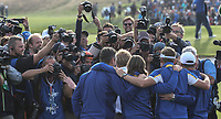Photographers busy with the victorious European players after the Sunday's Singles, at the Ryder Cup, Le Golf National, Île-de-France, France. 30/09/2018.<br /> Picture David Lloyd / Golffile.ie<br /> <br /> All photo usage must carry mandatory copyright credit (© Golffile | David Lloyd)