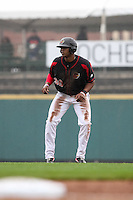 Left fielder Adam Walker (30) of the Rochester Red Wings leads off second base against the Scranton Wilkes-Barre Railriders on May 1, 2016 at Frontier Field in Rochester, New York. Red Wings won 1-0.  (Christopher Cecere/Four Seam Images)