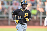 Bristol Pirates left fielder Huascar Fuentes (36) walks to first base during a game against the Elizabethton Twins at Joe O'Brien Field on July 30, 2016 in Elizabethton, Tennessee. The Twins defeated the Pirates 6-3. (Tony Farlow/Four Seam Images)