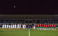 The teams line up during the International friendly match between England U19 and Bulgaria U19 at Adams Park, High Wycombe, England on 10 October 2016. Photo by Andy Rowland.