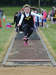 Grace Fitzpatrick from Dunleer AC taking part in the girls under 10 long jump at Cushinstown AC. Photo: Colin Bell/pressphotos.ie